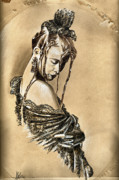 Sepia Drawings Framed Prints - Woman portrait - After the Party Framed Print by Daliana Pacuraru