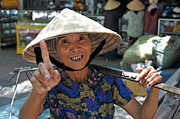 Sami Sarkis Posters - Woman portrait at market in Hue Poster by Sami Sarkis