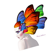 Caricature Framed Prints - Woman Portrait Butterfly  Framed Print by Mark Ashkenazi