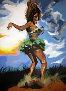 African Dance Mixed Media Posters - Woman Possessed pt1 Poster by George Mozel