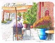 Post Cards Painting Originals - Woman reading a newspaper in Il Fornaio - Pasadena - California by Carlos G Groppa