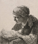 Woman Reading Print by Rembrandt