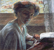 Brushstroke Prints - Woman Reading Print by Umberto Boccioni