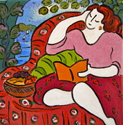 Food And Beverage Ceramics Posters - Woman Reading with basket of fruit Poster by Carol Keiser