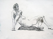 Featured Drawings - Woman Rising by Dennis Lansdell