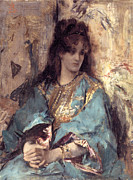 Alfred Posters - Woman Seated in Oriental Dress Poster by Alfred Stevens