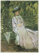 Woman In A Dress Prints - Woman Seated on a Bench Print by Claude Monet