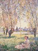 Meadow Willows Posters - Woman seated under the Willows Poster by Claude Monet