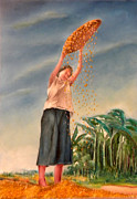 Filipina Prints - Woman Sifting Palay Print by Miriam Besa