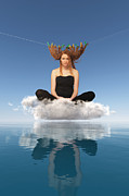 One Person Mixed Media - Woman Sitting On Cloud And Drying Red Hairs by Aleksey Tugolukov
