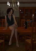 Candle Lit Digital Art - Woman Sitting on Table Waiting by Elle Arden Walby