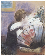 Woman In A Dress Metal Prints - Woman Smelling Flowers Metal Print by Jean-Louis Forain