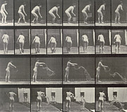 Woman Throwing A Bucket Of Water Print by Eadweard Muybridge