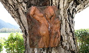 Nude Sculptures Framed Prints - Woman torso relief Framed Print by Flow Fitzgerald