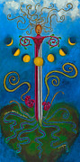Merging Painting Posters - Woman Transforming Sword Poster by Annette Wagner