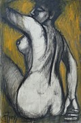 Rear View Drawings - Woman Turning Her Back 2- Female Nude by Carmen Tyrrell