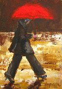 Wet Brown Posters - Woman under a Red Umbrella Poster by Patricia Awapara