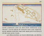 Natural Beauty Painting Framed Prints - Woman wading through water Framed Print by Georges Barbier