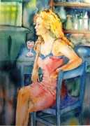 Kitchen Chair Paintings - Woman waiting  by Trudi Doyle