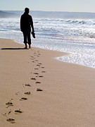 Barefeet Prints - Woman walking alone at the beach Print by Jose Elias - Sofia Pereira