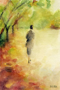 Watercolors Posters - Woman Walking Autumn Landscape Watercolor Painting Poster by Beverly Brown Prints