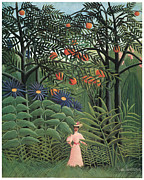 Woman In A Dress Metal Prints - Woman Walking in an Exotic Forest Metal Print by Henri Rousseau