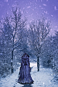 Purple Robe Framed Prints - Woman Walking In Snow Framed Print by Christopher and Amanda Elwell