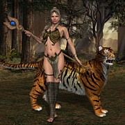 Staff Digital Art - Woman Warrior and Cat by Corey Ford