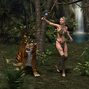 Staff Digital Art - Woman Warrior with Tiger by Corey Ford