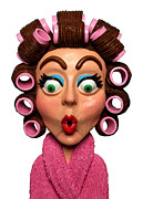 Clay Sculpture Posters - Woman Wearing Curlers Poster by Amy Vangsgard