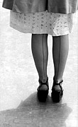 Seams Prints - Woman Wearing Nylon Stockings Print by Underwood Archives