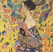 Klimt Digital Art Prints - Woman with a Fan Print by Nomad Art And  Design