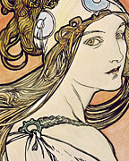 Female Portraits Posters - Woman with a Headscarf Poster by Alphonse Marie Mucha