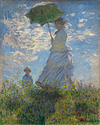 Son Paintings - Woman with a Parasol - Madame Monet and Her Son by Claude Monet
