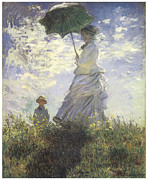 Victorian Woman Framed Prints - Woman with a Parasol Framed Print by Claude Monet