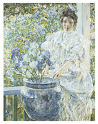 Vase Of Flowers Painting Prints - Woman with a Vase of Irises Print by Robert Reid