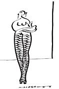 Pants Drawings - Woman With Baby And Striped Pants by Vince MacDermot