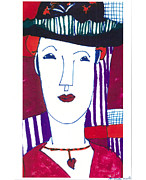 Modigliani Mixed Media Prints - Woman with Black Hat Print by Don Koester