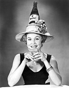 Quirky Posters - Woman With Champagne Hat Poster by Underwood Archives