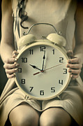 Brunette Prints - Woman with Clock Print by Craig Brown