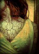Nightmare Framed Prints - Woman With Cracks and Words Overlaid Framed Print by Jill Battaglia