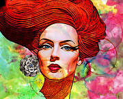 Redhead Mixed Media Framed Prints - Woman With Earring Framed Print by Chuck Staley