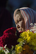 Flower Memorial Photography Posters - Woman With Flowers - Day Of The Dead Mexico Poster by Craig Lovell