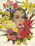 WomenÕs Art - Woman With Flowers  1950s Usa Coby by The Advertising Archives