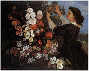 Carnation Painting Prints - Woman with Flowers Print by Gustave Courbet