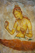 Ceylon Prints - Woman with Flowers. Sigiriya Cave Fresco Print by Jenny Rainbow
