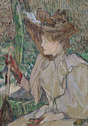 Resting Drawings - Woman with Gloves by Henri de Toulouse-Lautrec