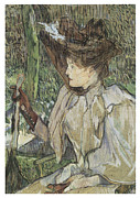 Victorian Era Woman Framed Prints - Woman with Gloves Honorine Platzer Framed Print by Henri De Toulouse-Lautrec