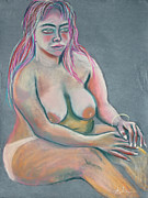 Prints On Canvas Pastels Framed Prints - Woman with Green Eyes Framed Print by Asha Carolyn Young