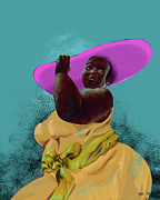 African-american Digital Art Prints - Woman with hat Print by David James